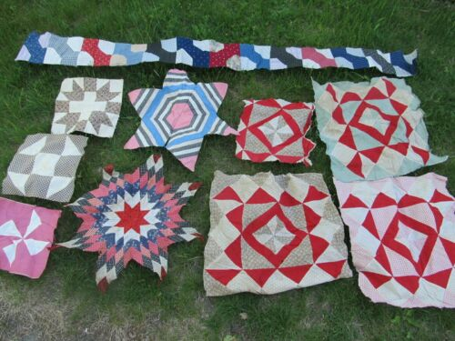 SELECTION OF (22) LARGE, COLORFUL ANTIQUE PATCHWORK QUILT BLOCKS, c1850  - 1930