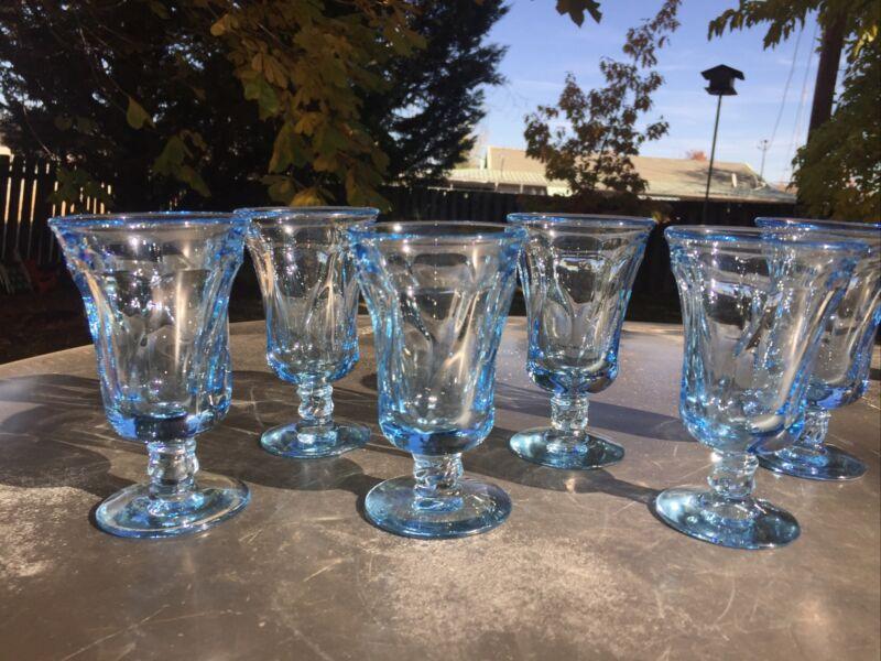 6~Fostoria Jamestown Blue 4 5/8 inch Juice Glass