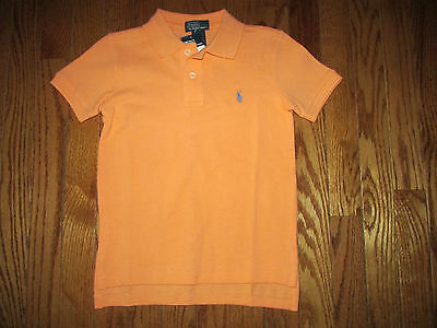 New Ralph Lauren Boys Size 4 Peachy Orange Mesh Polo Short Sleeve Golf Shirt - Peachy Boys