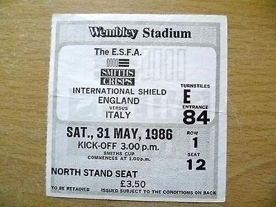 Tickets- 1986 International Shield ENGLAND v ITALY, 31 May 1986