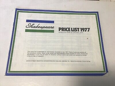 retro Shakespeare trade price list 1977 fishing tackle guide Catalogue