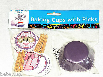 NEW  MISS SOCK MONKEY 50 BAKING CUPS & PICKS  , BIRTHDAY, CHILD ,    PARTY - Sock Monkey Birthday Party