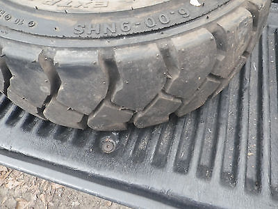 Used 5-lug Forklift Rim And Tire. 6.00-9. 10 Ply Tire--heavy Duty--extra Wall