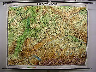 Schulwandkarte map Süddeutschland Bayern Baden München Alpen Alps 1971 228x181cm