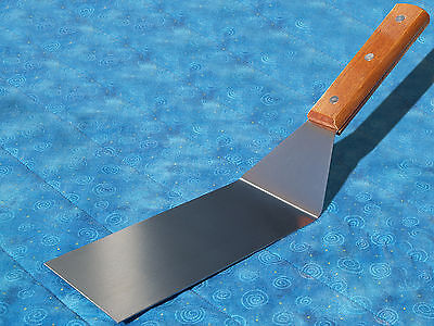Stainless Steel Flexible Spatula Scraper Turner 6x3 Wood Handle for Grill or Pan