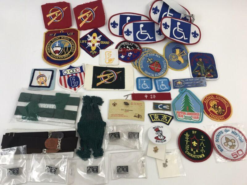 BSA Boy Scouts Rare Patch Pin Lot - Explorers Fishing Beaver Handicapped Asian