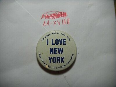 Button pin Sachs New York furniture stores City I love heart like best #1 60-70' ()
