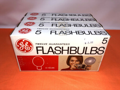 LOT OF 4 12 PACKS GE GENERAL ELECTRIC FLASHBULBS FLASH BULBS NUMBER NO 5 VINTAGE