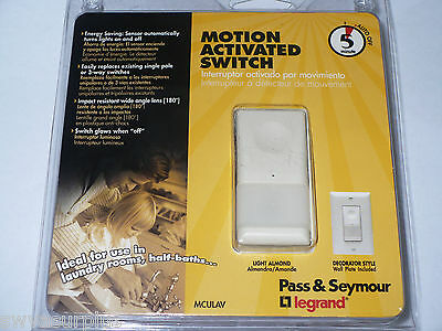 Pass Seymour Mculav Motion Activated Switch 5 Minute Auto Off Almond New