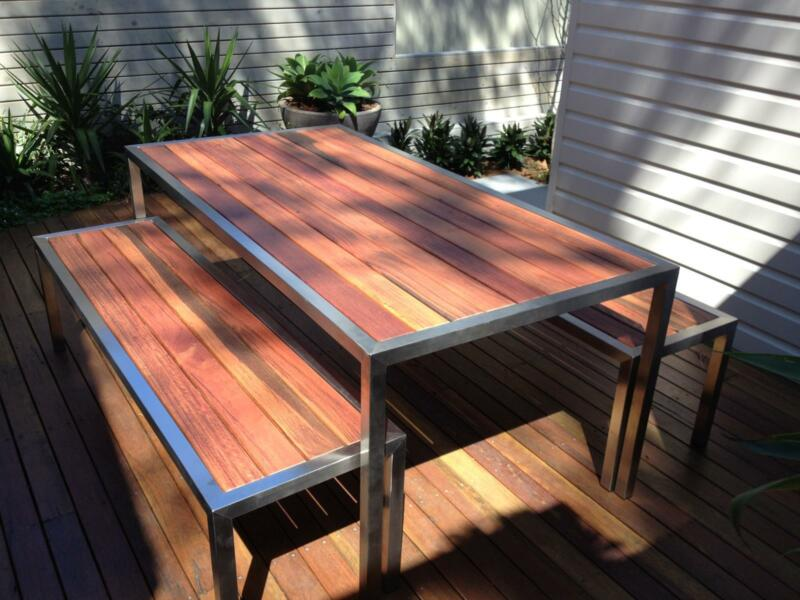 STAINLESS STEEL TIMBER OUTDOOR TABLE SETTING. CAN CHANGE SIZE Part 8