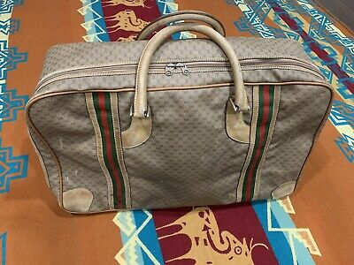 Vintage GUCCI Large Duffle Brown Monogram Leather Travel Luggage GG Weekender
