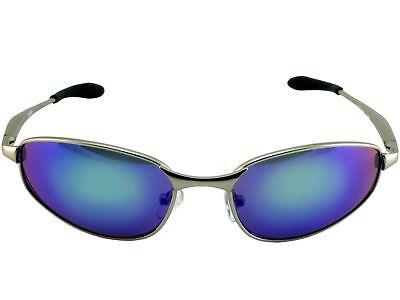 Mens Metal Frame Sport Oval Sunglasses Designer Emerald Mirror Lens (Chrome Lens Sunglasses)