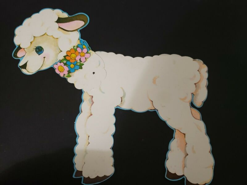 Vintage Jointed Easter Lamb Sheep Wall Window Decoration