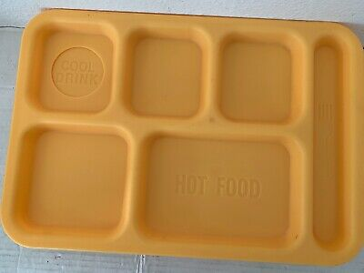 Yellow Lunch Cafeteria Trays 6-Section Retro Vintage Cool Drink Hot Food Areas  Yellow Cafeteria Tray
