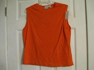 knit top orange sleeveless fiorlini international plus 18W 65% polyester 35% cot