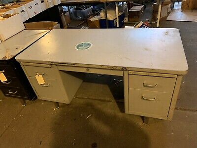 Vintage Steelcase Metal Tanker Desk Double Pedestal Industrial Blue Shaw Walker