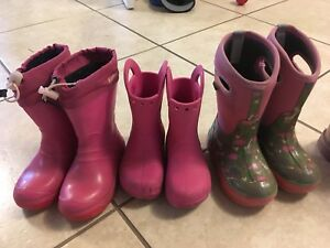 Girls boots.  Kamik, Crocs and Bogs