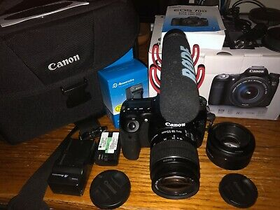Canon EOS 70D DSLR Camera with Camera Bag,18-55mm Lens, 50mm Lens, Rode VideoMic
