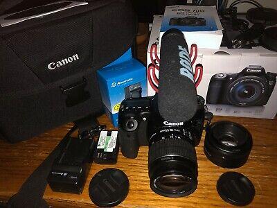 Canon EOS 70D DSLR Camera with Camera Bag,18-55mm Lens, 50mm Lens, Rode VideoMic