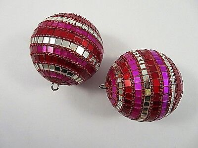 Pair Ornaments Mirrored Glass Mosaic Beaded Round Pink Red Silver 2.75