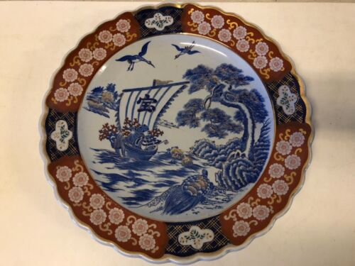 Antique 20th Century Japanese Imari Charger with Seascape Scene & Floral Dec.