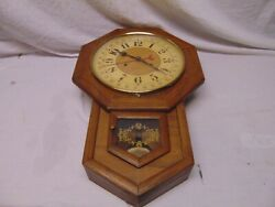 vintage Hamilton 31 day Wall Clock with Pendulum glass dome face 23  x 15 USA