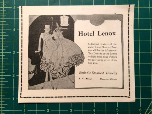 1916 print ad  HOTEL LENOX Boston