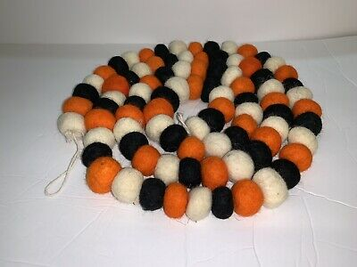 Halloween Farmhouse Felt Ball Pom Pom Banner Garland Ivory Black Orange 6FT