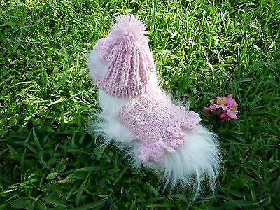 Pink Dog Knit Sweater - XXXXS  handmade knit  pink dog sweater dress&hat set