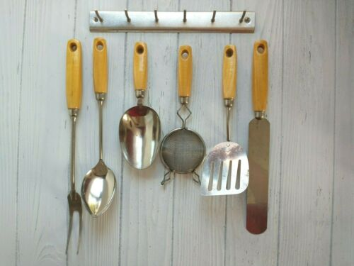 Vintage Ekco A&J Hanging Wood Handle Kitchen Utensils Spatula Spoon Fork Set