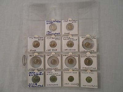 SALE! Coins:14 Roosevelt Dimes:12 Circulated/1-Uncircltd:1999-P/1-2005-S ChProof
