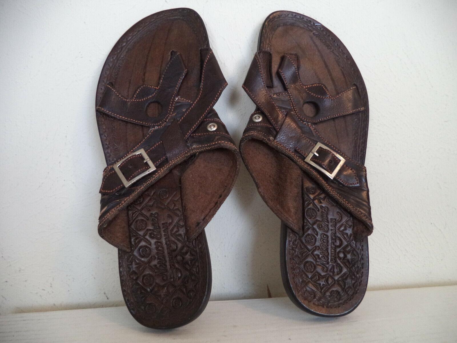 Men's Brown Nesinco Handmade Tough Leather Slippers Sandals.