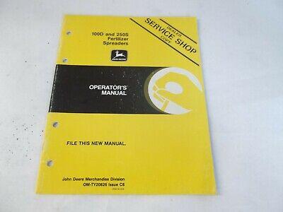 John Deere 100d 250s Fertilizer Spreaders Operators Manual Dealer Service Shop