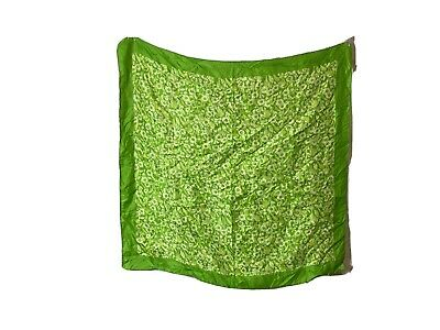 "Vintage Scarf Styles -1920s to 1960s vintage green  floral scarf 26"" square $9.92 AT vintagedancer.com"