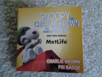 Charlie Brown Cloissonne Badge Pin Frm Snoopy Peanuts Movie Met Life Advertising