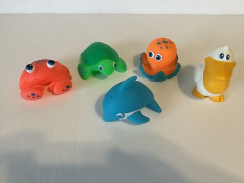 Lot of 5 Munchkin Bath Toy Squirts dolphin crab pelican turtle Octopus MM