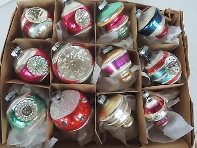 12 Vintage glass Christmas Tree Ornaments indented painted glitter 3.5