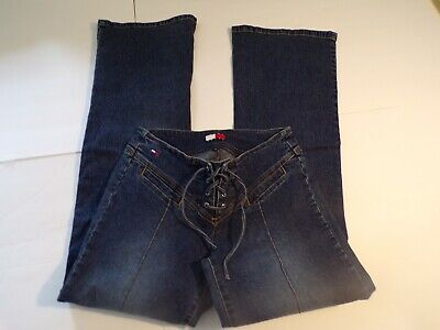 Tommy Hilfiger Jeans Luy Luy Dark Wash Flare Lace Up Jeans Sz 5 Measures 26W/31L