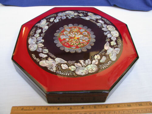 Red & Black Lacquer 8 Sided 9 Section Box Mother of Pearl Rabbits Floral Korea V