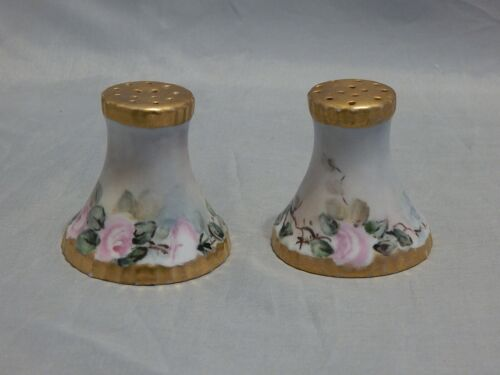 Bavaria Germany Hand Painted Pink Roses Salt and Pepper Shakers