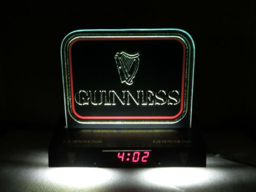 Vintage Guinness Lighted Beer Clock w/ Glass Sign Counter Top Bar Top Man Cave