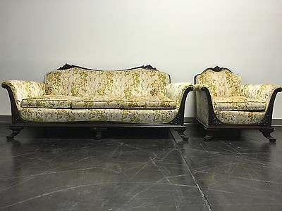 ANTIQUE Victorian Mahogany Frame Sofa & Chair