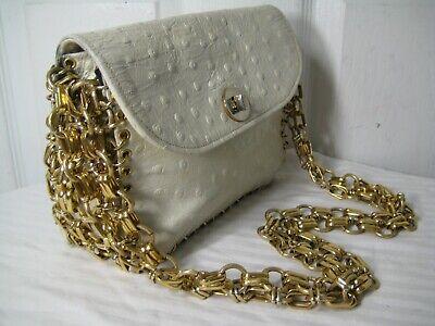 Beige Ostrich (Lewis Beige Ostrich Gold Chain Shoulder Bag, Purse, Clutch  Made In ITALY.)