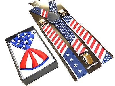 NEW PATRIOTIC US AMERICAN FLAG USA Suspenders and Bow Tie ](Tie And Suspenders)
