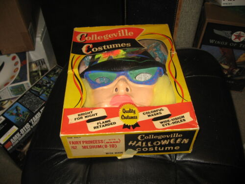 Vintage Collegeville Fairy Princess with wand Halloween Costume & Mask in Box