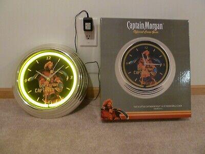 "Vintage ""Captain Morgan"" Green Neon 15 inch Wall Clock New in Box"