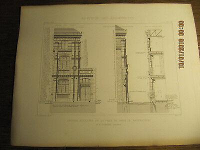 Planche Groupe Scolaire de la Ville de Paris Rue Baudricourt 1875