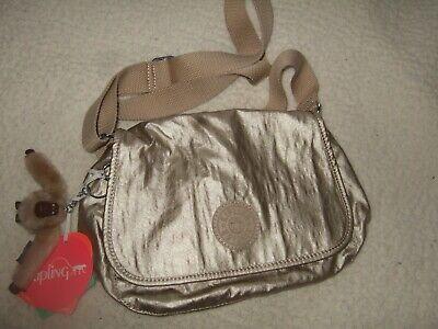 Kipling small shoulder bag, handbag, adjustable strap, metallic gold NEW + label