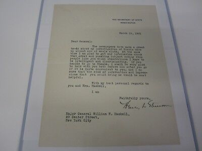Henry Stimson Secretary Of State Signed Typed Letter Tls To Gen Haskell 1931 Coa