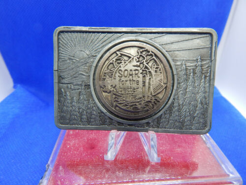 "BOY SCOUTS OF AMERICA VINTAGE BELT BUCKLE ""SOAR FOR THE BETTER LIFE"" W/ CASE"